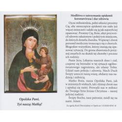 MATKA BOSKA OPOLSKA - obrazek z modlitwą o zatrzymanie epidemii koronawirusa i dar zdrowia